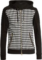 Balmain Hooded harlequin-print zip-up cotton sweatshirt