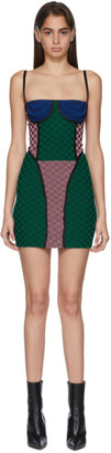Paolina Russo SSENSE Exclusive Pink and Green Check Illusion Knit Mini Dress