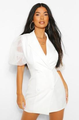 boohoo Petite Organza Volume Sleeve Blazer Dress