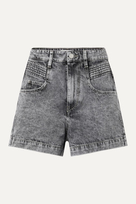 Etoile Isabel Marant Hiana Acid-wash Denim Shorts - Gray