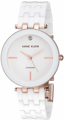 Anne Klein Women's AK/3310WTRG Diamond-Accented Rose Gold-Tone and White Ceramic Bracelet Watch