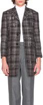 Thom Browne Distressed Tartan Tweed Coat