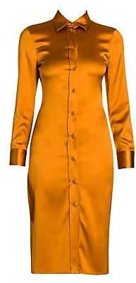 Bottega Veneta Women's Stretch Satin Fitted Shirtdress