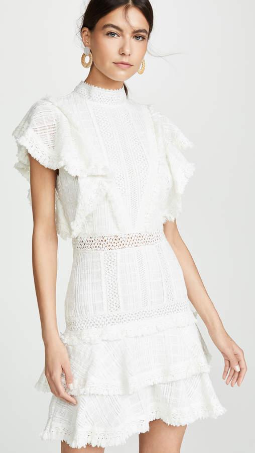 Alice + Olivia Bea Lace Insert Fringe Dress