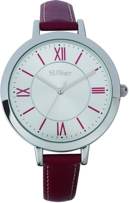 Sunset2710Ladies WatchSilver Dial Red Leather Strap