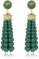 Tory Burch Tory Gold Brass and Resin Beaded Tassel Drop Earrings