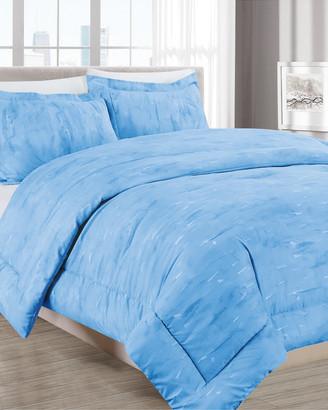 Melange Home Barbarian Sleepy Texture 3Pc Comforter Set Blue