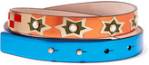 Valentino Embellished Metallic Textured-leather And Suede Belt - Blue