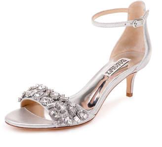 Badgley Mischka Lara Embellished Metallic Kitten-Heel Sandals