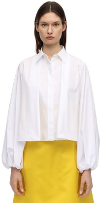 Sara Battaglia Puffed Sleeves Cotton Poplin Shirt