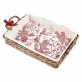 Mud Pie Holly Collection Toile Baker in Willow Basket