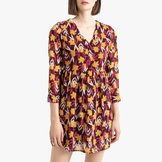 Vero Moda Floral Print Knee-Length Dress with V-Neck