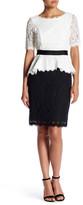 NUE by Shani Elbow Sleeve Lace Peplum Dress