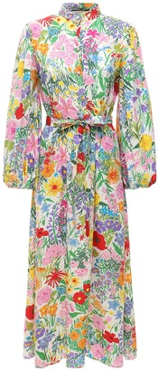 Gucci Flower Printed Silk Dress W/ Belt