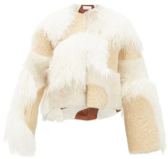 Raey Patchwork Shearling Jacket - Womens - Cream