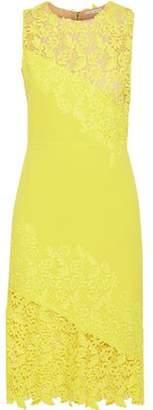 Alice + Olivia Margy Neon Guipure Lace-paneled Ponte Dress
