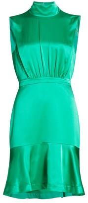 Saloni Fleur Silk High-Neck Mini Dress