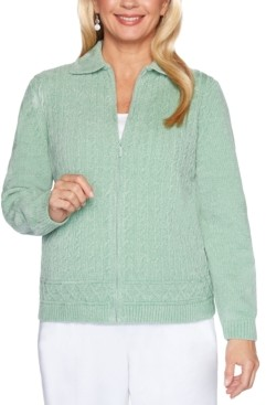 Alfred Dunner Petite Classics Chenille Zip Cardigan