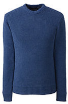 Lands' End Men's Cotton Drifter Horizontal Shaker Crew Sweater-Yellow Multi Stripe