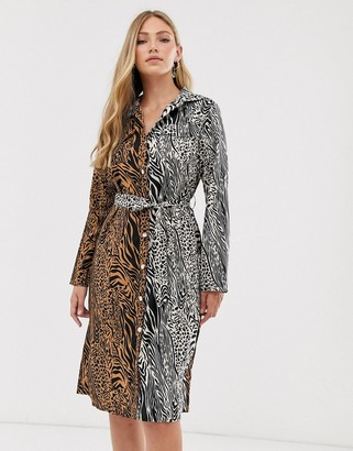 Liquorish midi shirt dress in mixed tiger print