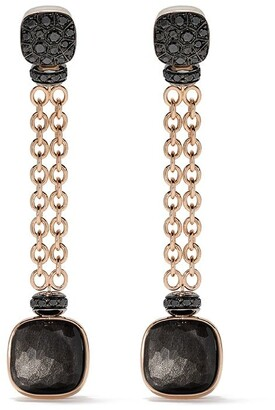 Pomellato 18kt rose and white gold Nudo obsidian and black diamond drop earrings