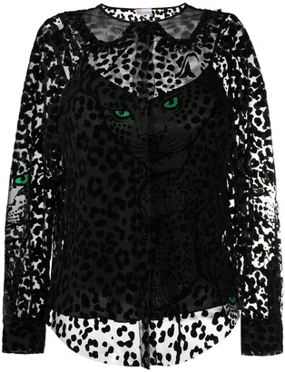 RED Valentino Leopard Pattern Sheer Blouse