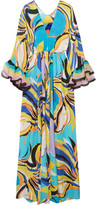 Emilio Pucci Chiffon-trimmed Printed Silk-georgette Maxi Dress - Turquoise