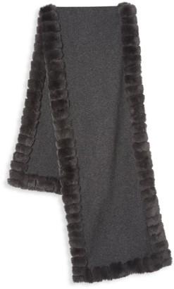 Glamour Puss Rabbit Fur-Trim Cashmere-Blend Knit Scarf