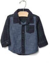 Gap Mix-fabric plaid shirt