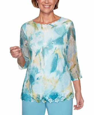 Alfred Dunner Women's Petite Abstract Mesh Floral Top