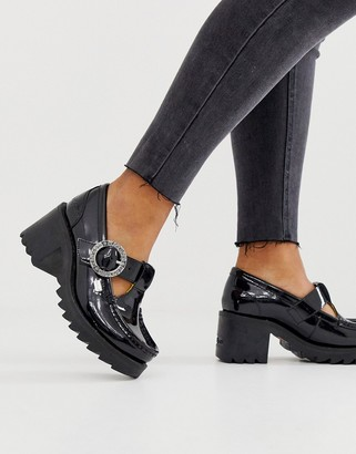 Kickers Klio T bar black patent leather low heel shoes