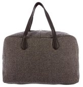 Massimo Alba Houndstooth Leather-Trimmed Weekender w/ Tags