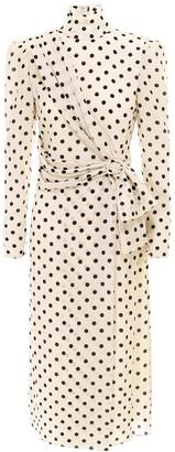 Alessandra Rich Polka-Dot Belted Dress