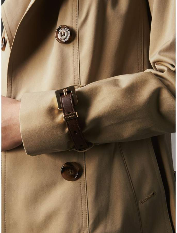 Burberry Leather Trim Cotton Gabardine Trench Coat
