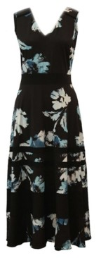 Taylor Plus Size Contrast-Trim Floral-Print Maxi Dress
