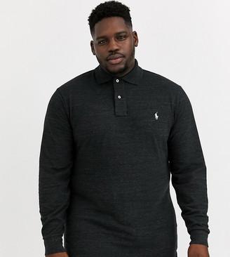 Polo Ralph Lauren Ralph Lauren Big & Tall long sleeve player logo classic fit basic mesh polo in black marl heather