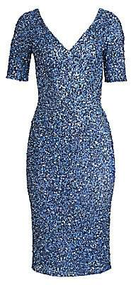 Theia Women's Sequined V-Neck Cocktail Sheath
