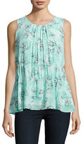 Ellen Tracy Mint Shell Spring Floral Top