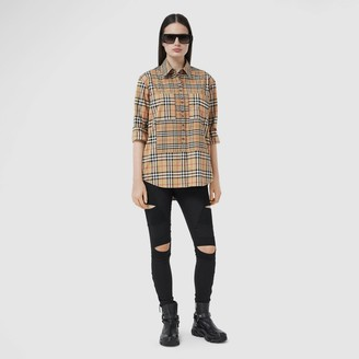 Burberry Contrast Check Stretch Cotton Shirt