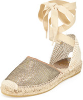 Ash Zora Lace-Up Espadrille Flat, Gold