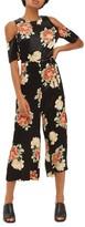 Topshop Women's Sofia Floral Cold Shoulder Jumpsuit