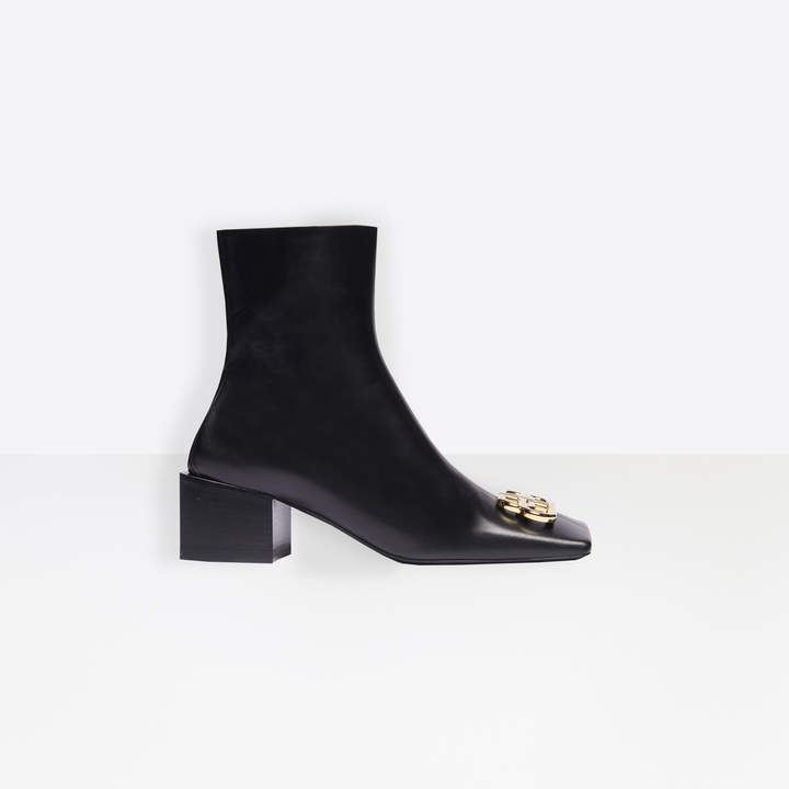 Balenciaga Double Square BB 50mm Zipped Booties in black leather and gold-toned hardware