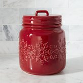 Crate & Barrel Snowflake Red Cookie Jar