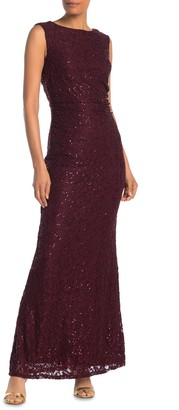 Onyx Nite Floral Lace Sequin Gown (Regular & Plus Size)