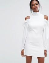 Aq/Aq AQ AQ Mini Dress with Frills and Cold Shoulder Detail
