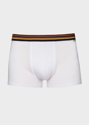 Paul Smith Men's White Low-Rise Boxer Briefs With 'Artist Stripe' Waistband