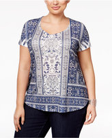 Style&Co. Style & Co. Plus Size Printed Embellished Top, Only at Macy's