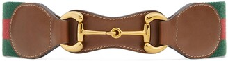 Gucci Web belt with leather and Horsebit