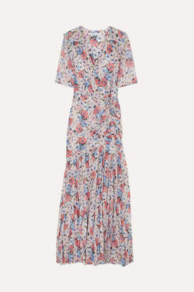 Veronica Beard Mick Wrap-effect Ruched Floral-print Silk-voile Maxi Dress - Pink
