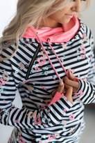 Ampersand Avenue DoubleHoodTM Sweatshirt - Distressed Floral Stripe
